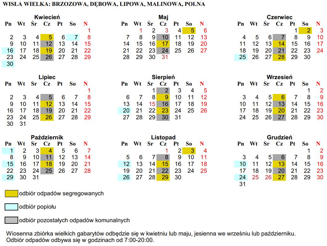 Harmonogram (cz. 2) odbioru odpadów dla ulic: Brzozowa, Dębowa, Lipowa, Malinowa, Polna
